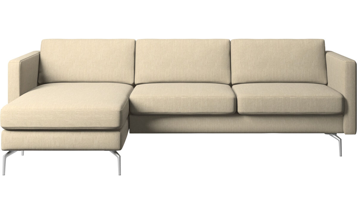Chaise lounge sofas - Osaka sofa with resting unit, regular seat - Brown - Fabric
