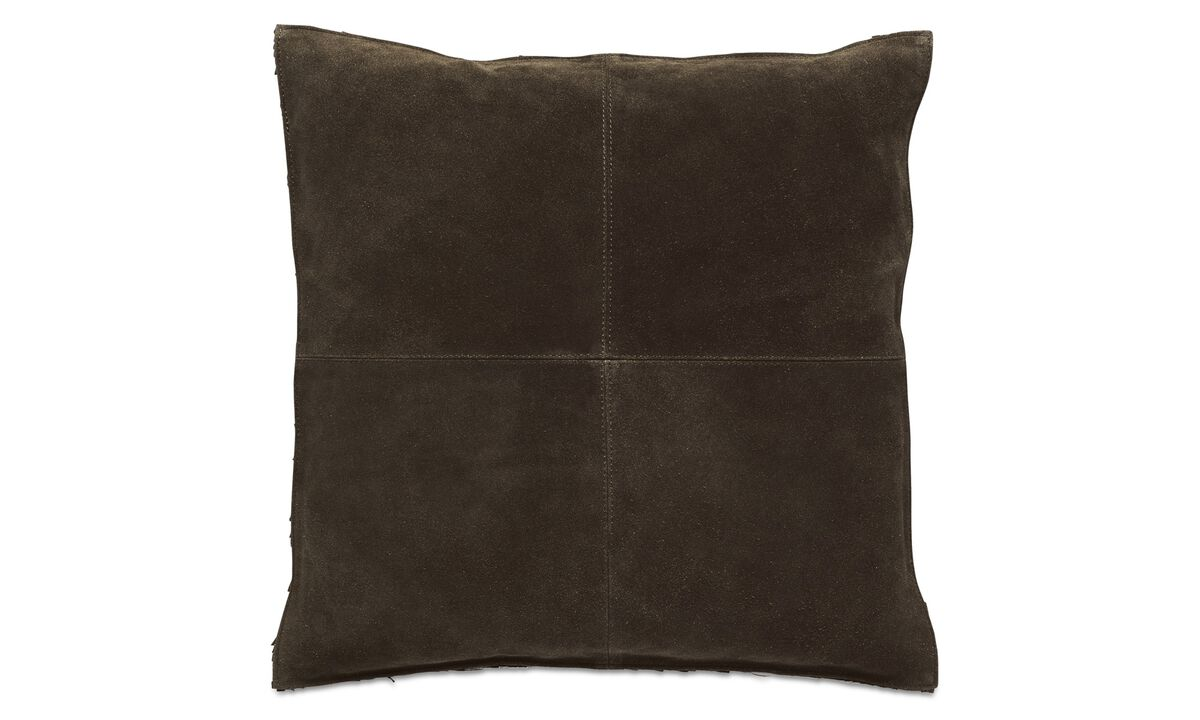 Leather cushions - Suede cushion - Brown - Fabric