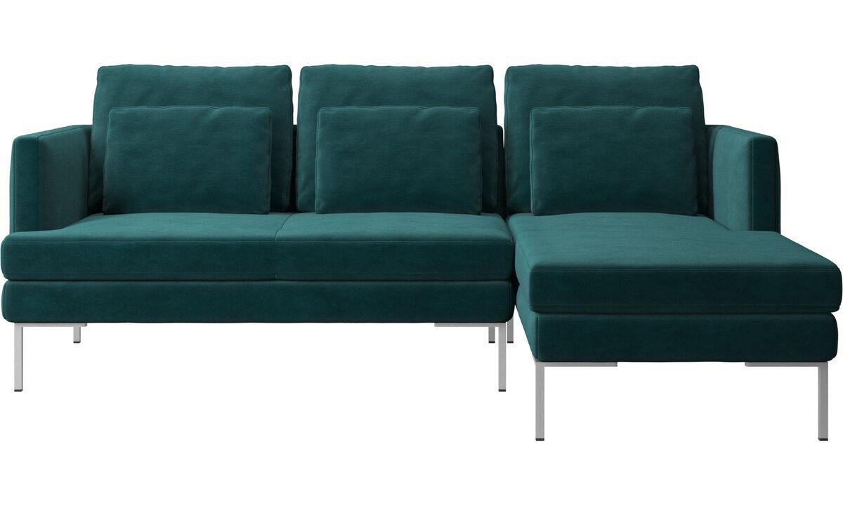 Canapés 3 places - canapé Istra 2 avec chaise longue - Bleu - Tissu
