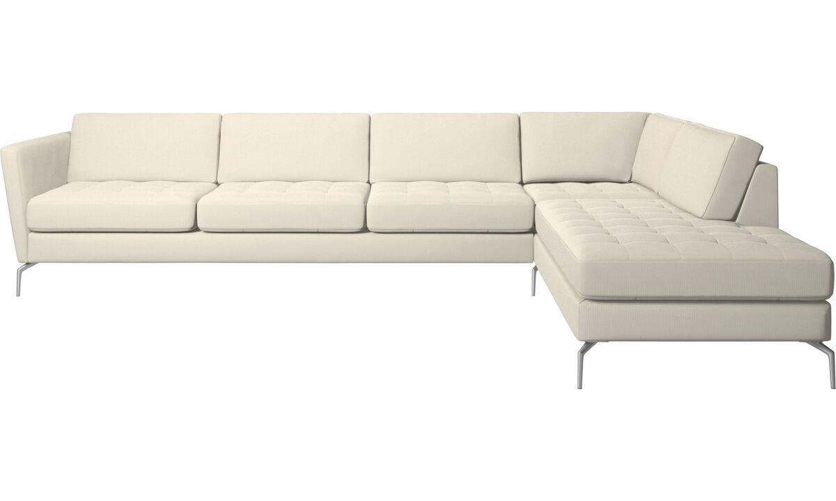New designs - Osaka corner sofa with lounging unit, tufted seat - White - Fabric
