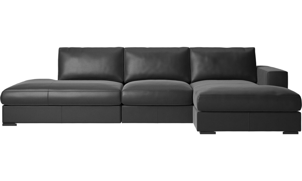 3 seater sofas - Cenova sofa with lounging and resting unit - Black - Leather