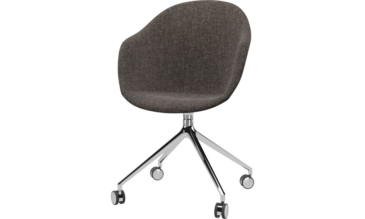 Home office chairs - Adelaide chair with swivel function and wheels - Brown - Fabric