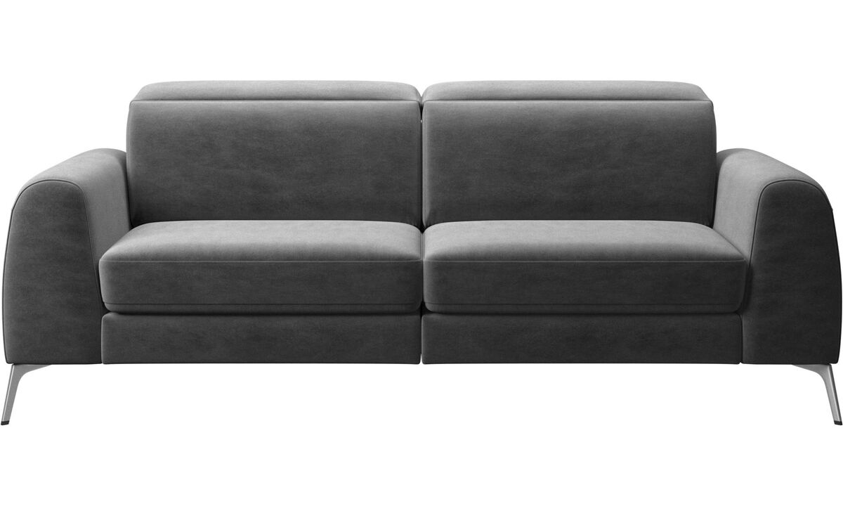 Sofa beds - Madison sofa with sleeper function and manual headrest - Grey - Fabric