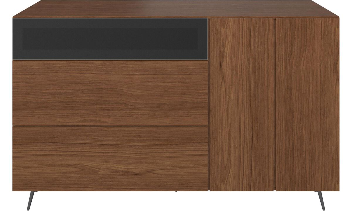 Sideboards - Lugano highboard with drawers and drop-down door - Brown - Walnut