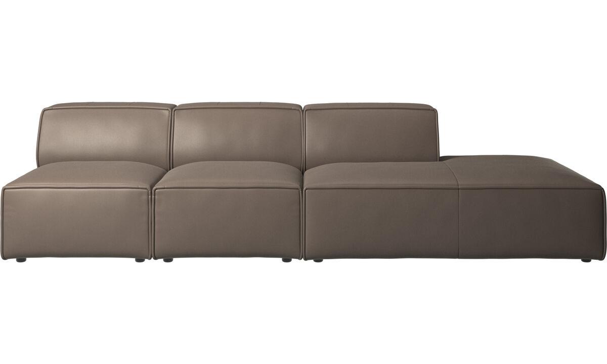 Sofás modulares - Sofá Carmo con módulo de descanso - En gris - Piel
