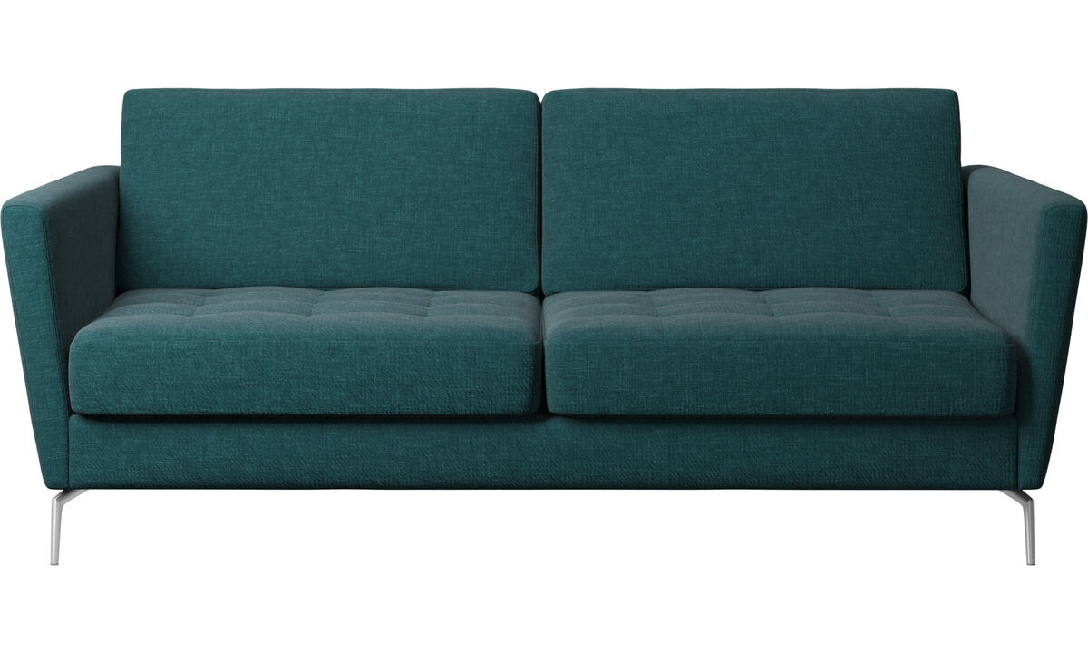 Sofa beds - Osaka sofa with sleeper function, tufted seat - Blue - Fabric