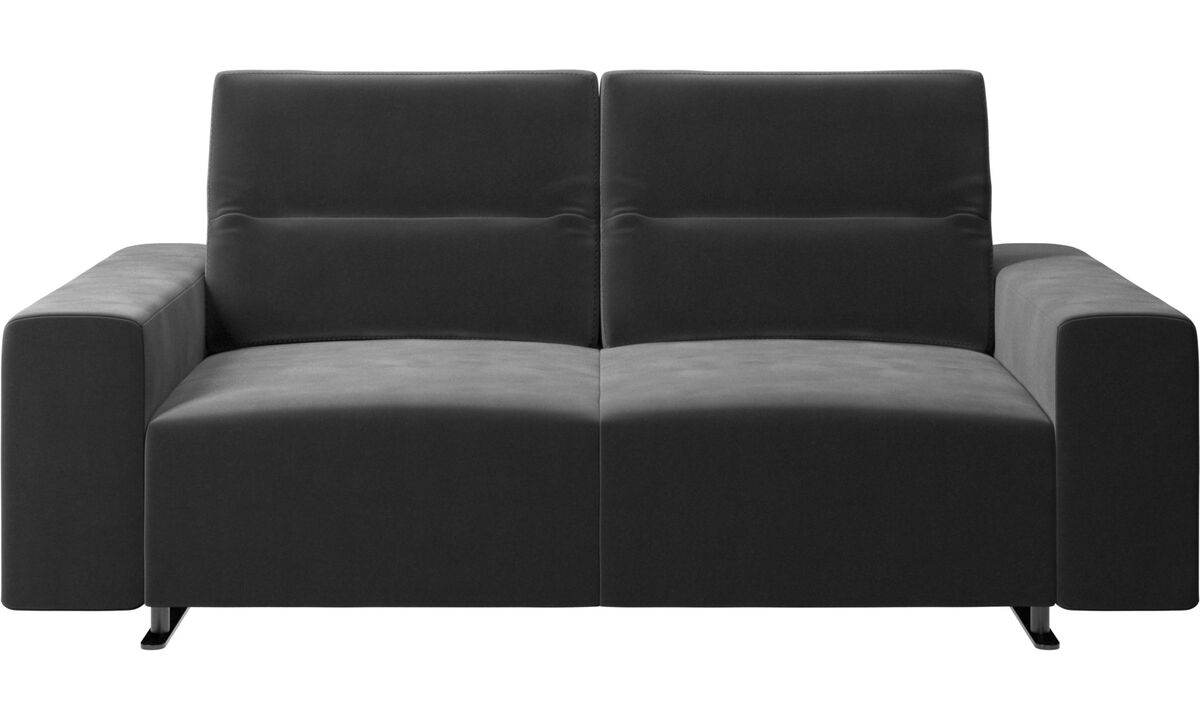 2 θέσιοι καναπέδες - Καναπές Hampton με ρυθμιζόμενη πλάτη - Μαύρο - Ύφασμα