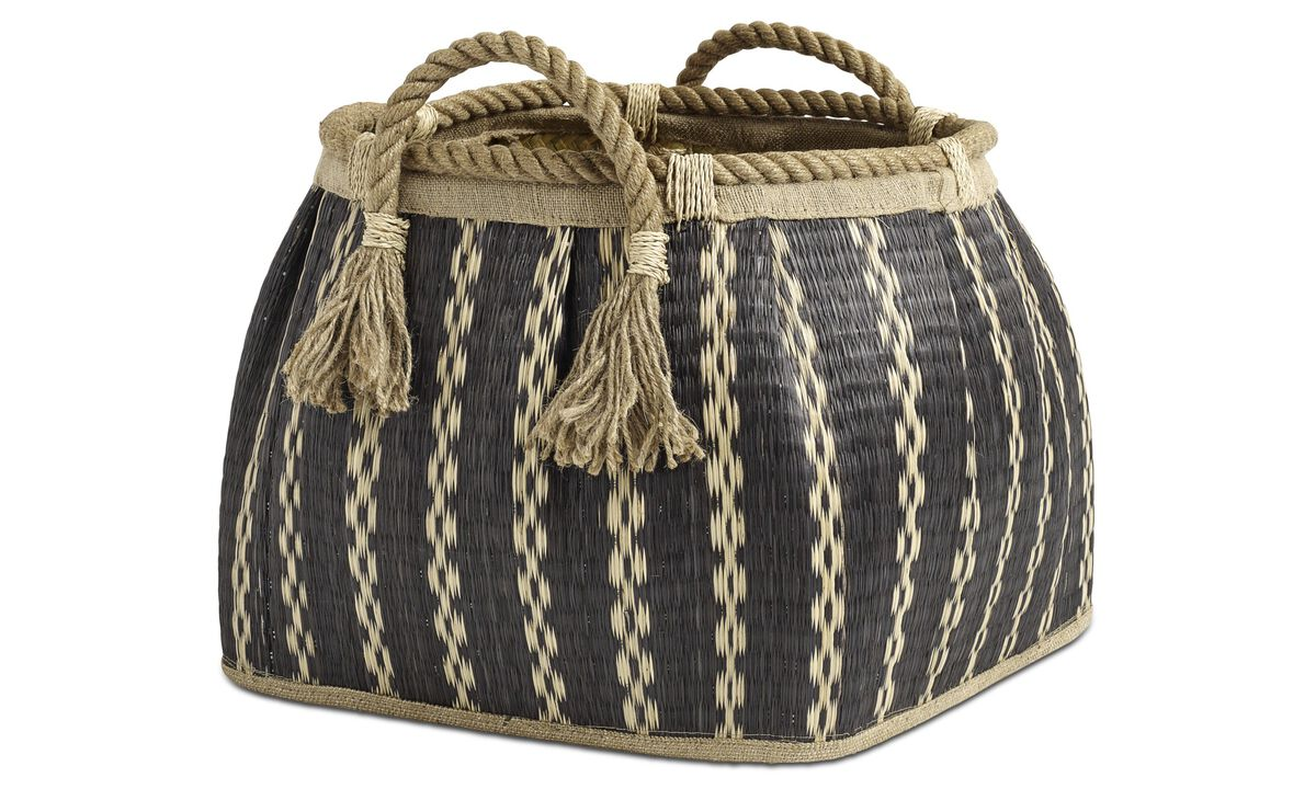 Small furniture - Stripes basket - Black - Fabric