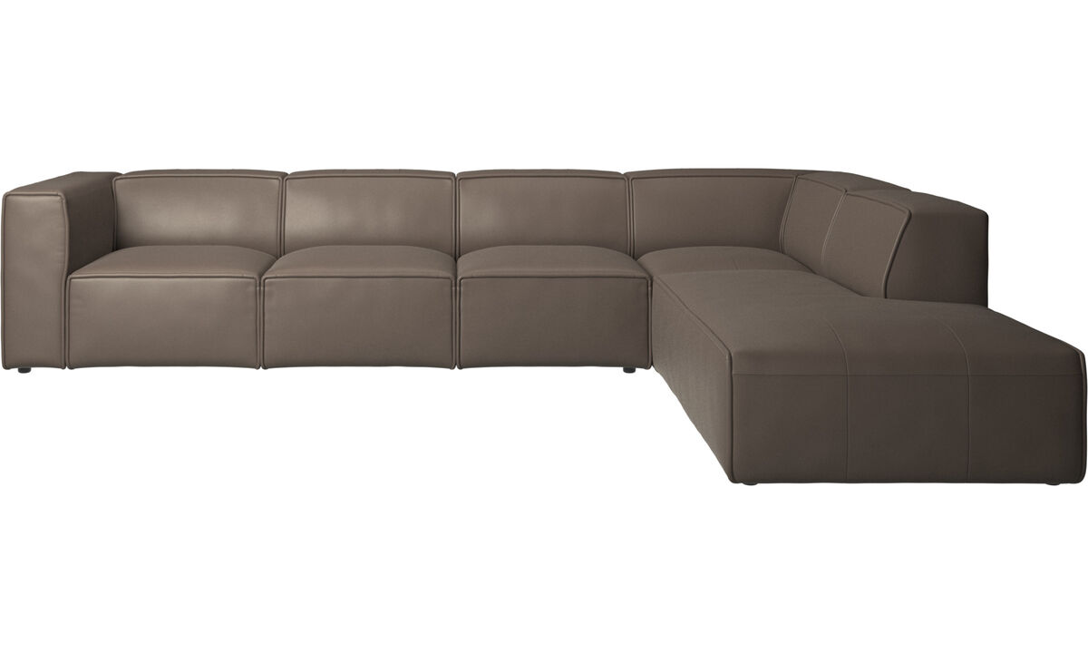 Sofás modulares - Sofá esquinero Carmo con módulo de descanso - En gris - Piel