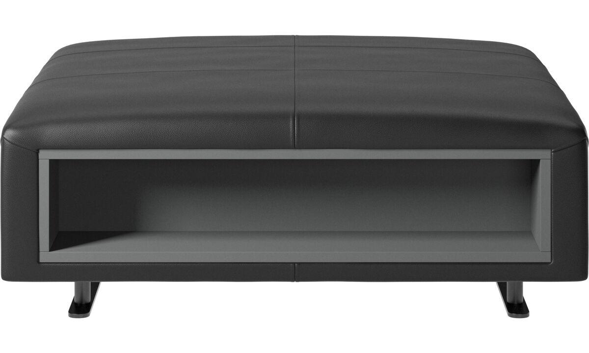 Pufs - Puf Hampton con almacenamiento lados derecho e izquierdo - En negro - Piel