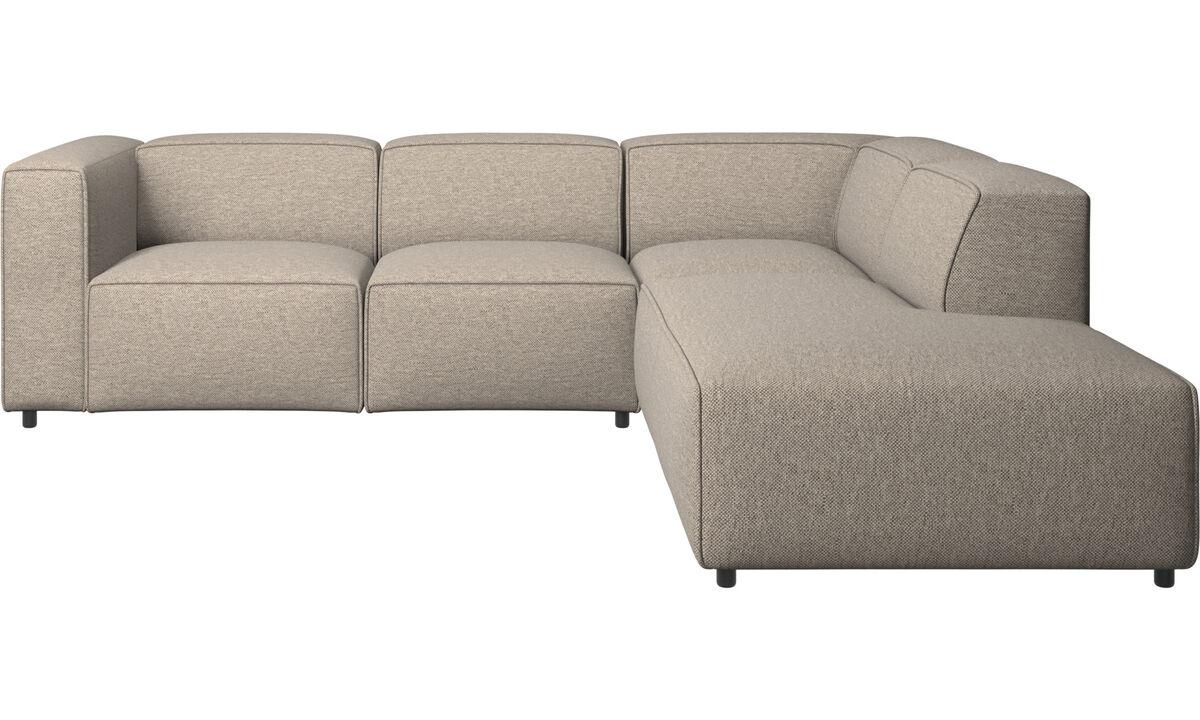 Sofás reclinables - Sofá esquinero Carmo con movimiento - En beige - Tela
