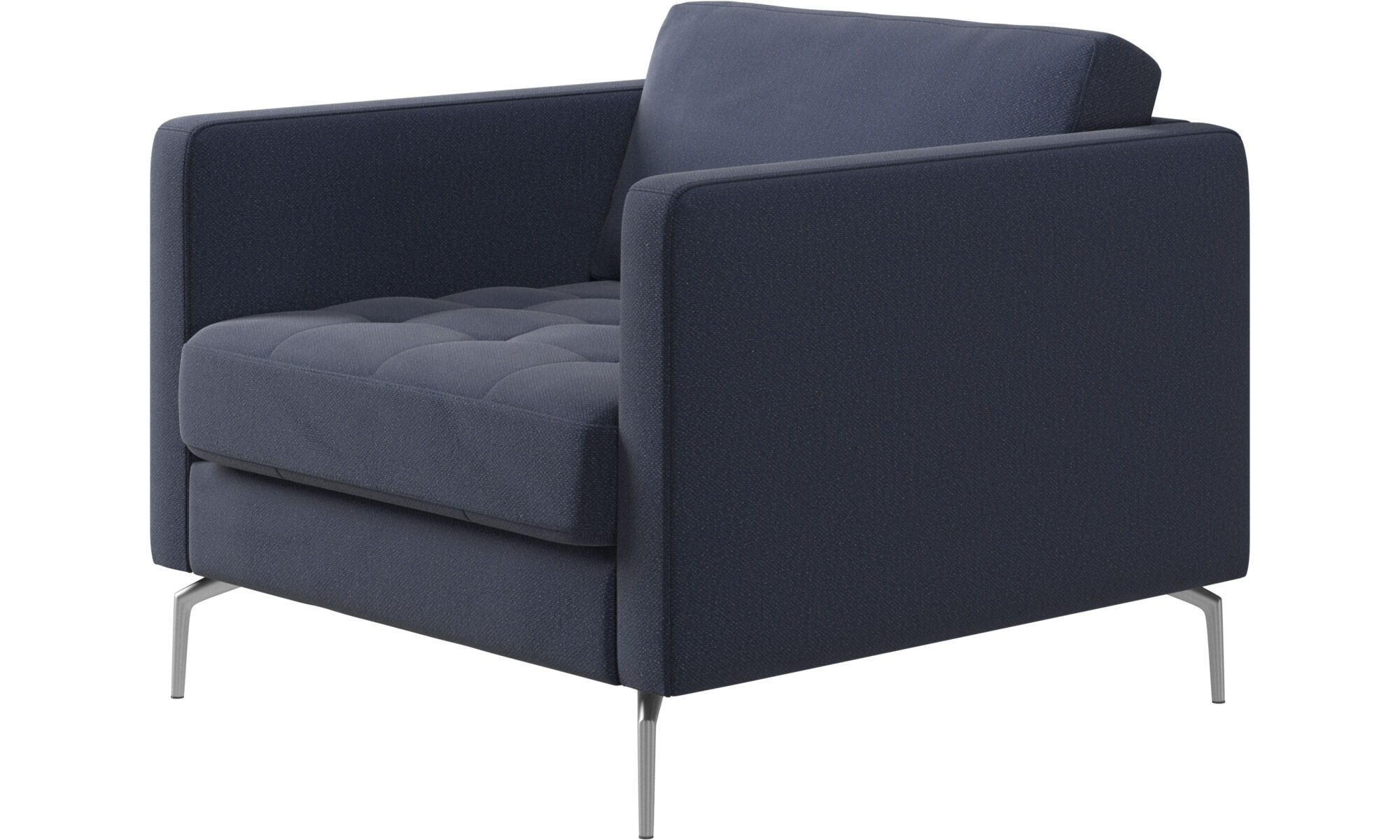 Armchairs   Osaka Chair, Tufted Seat   Blue   Fabric ...