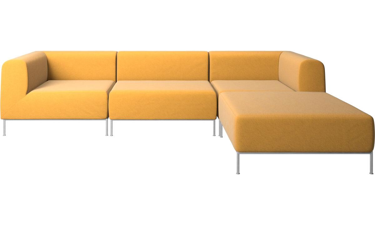 Sofás modulares - Sofá Miami con puf en lado derecho - En amarillo - Tela