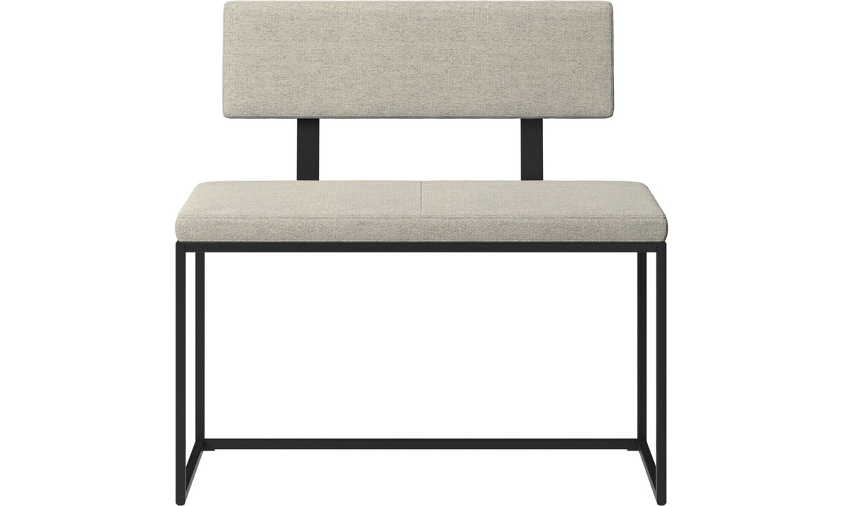 Benches - London small bench with cushion and backrest - Beige - Fabric