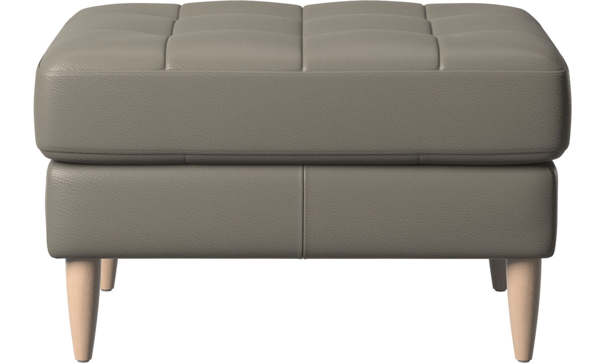 Footstools - Osaka footstool, tufted seat - Grey - Leather
