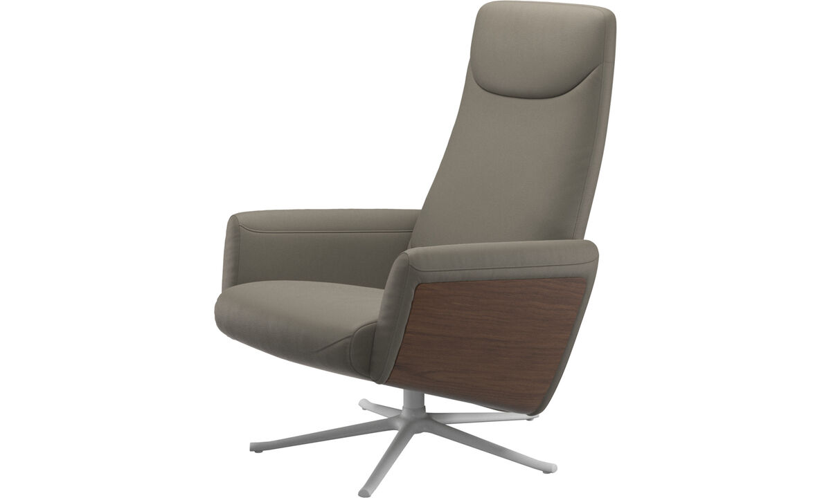 Recliners - Lucca recliner with swivel function - Grey - Leather