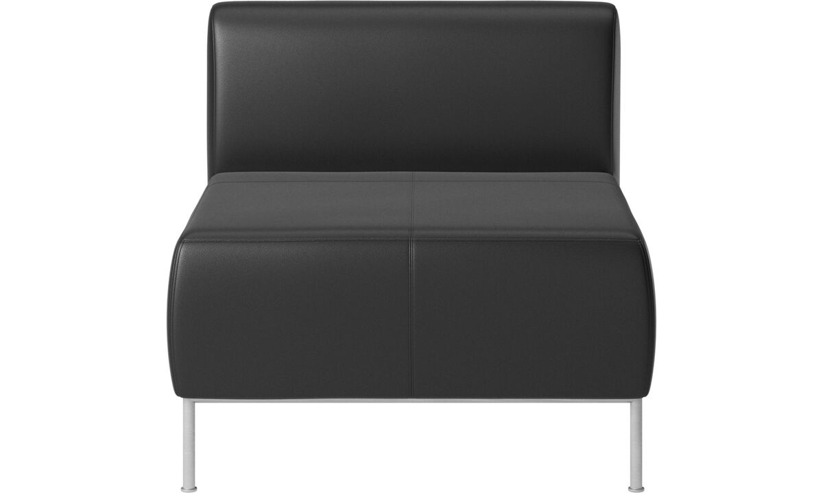 Modulære sofaer - Miami siddemodul med ryghynde - Sort - Læder