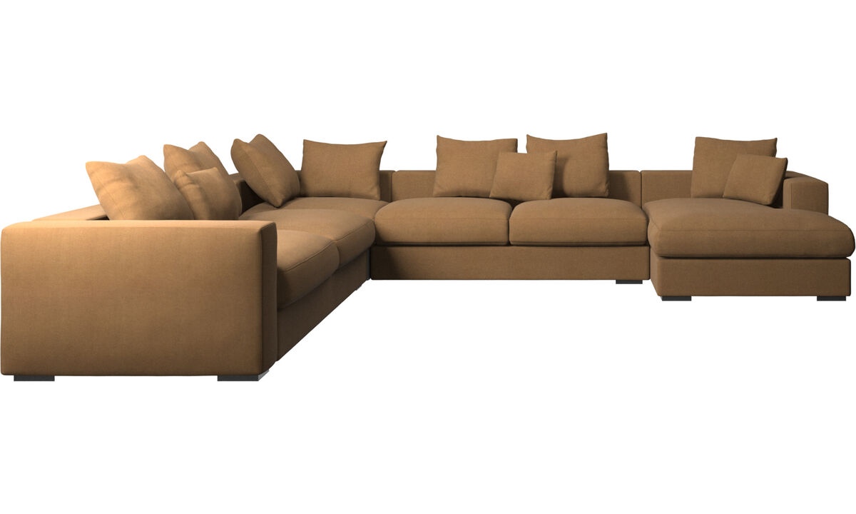 Chaise longue sofas - Cenova corner sofa with resting unit - Brown - Fabric