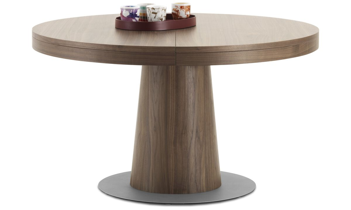 Oak furniture - Granada table with supplementary tabletop - round - Brown - Walnut