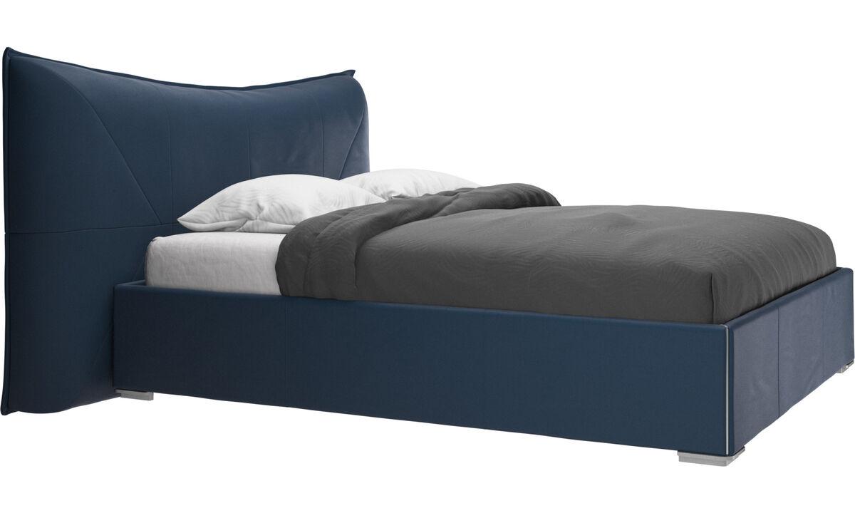 Nuevas camas - Cama Gent, no incluye colchón - En azul - Piel