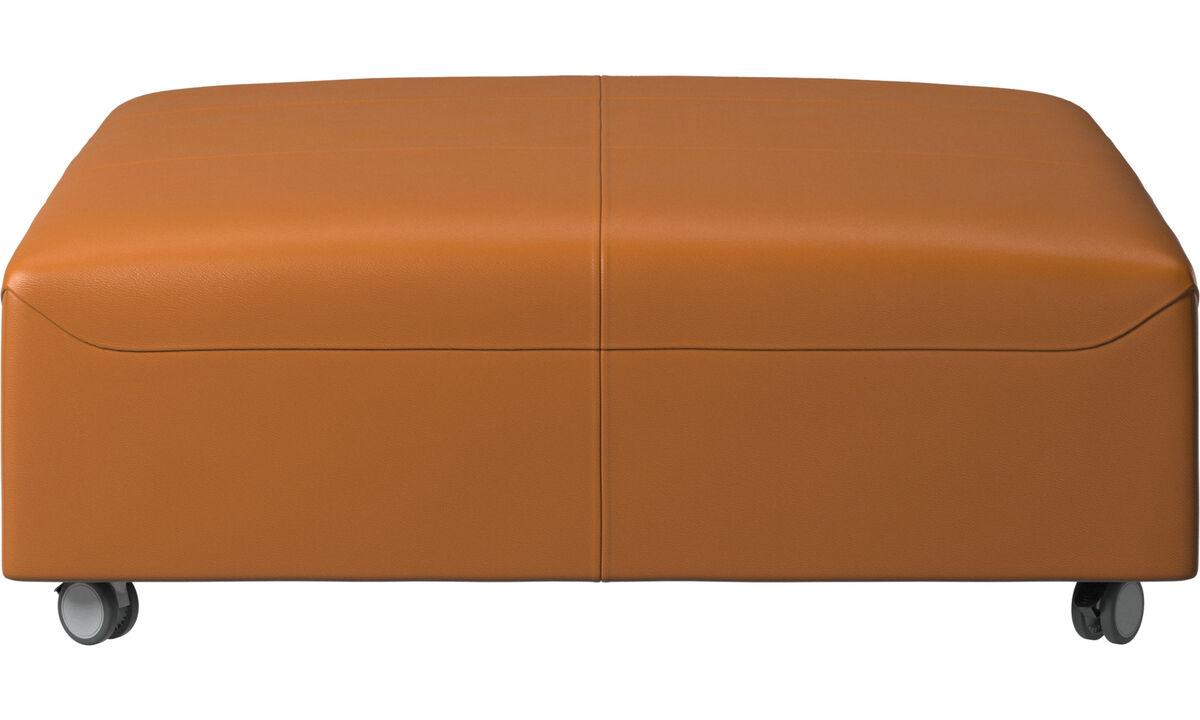 Pufs - Puf con ruedas Hampton - En marrón - Piel