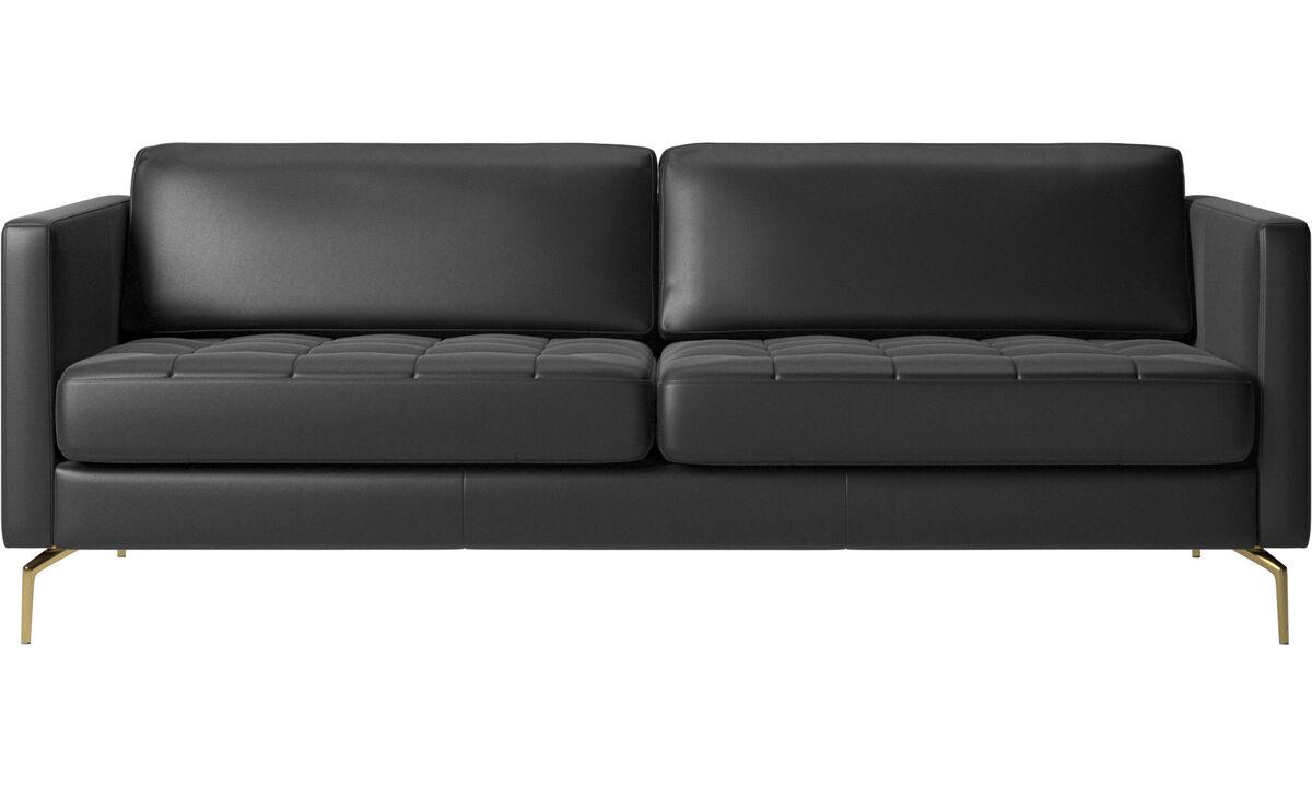 2.5 seater sofas - Osaka sofa, tufted seat - Black - Leather