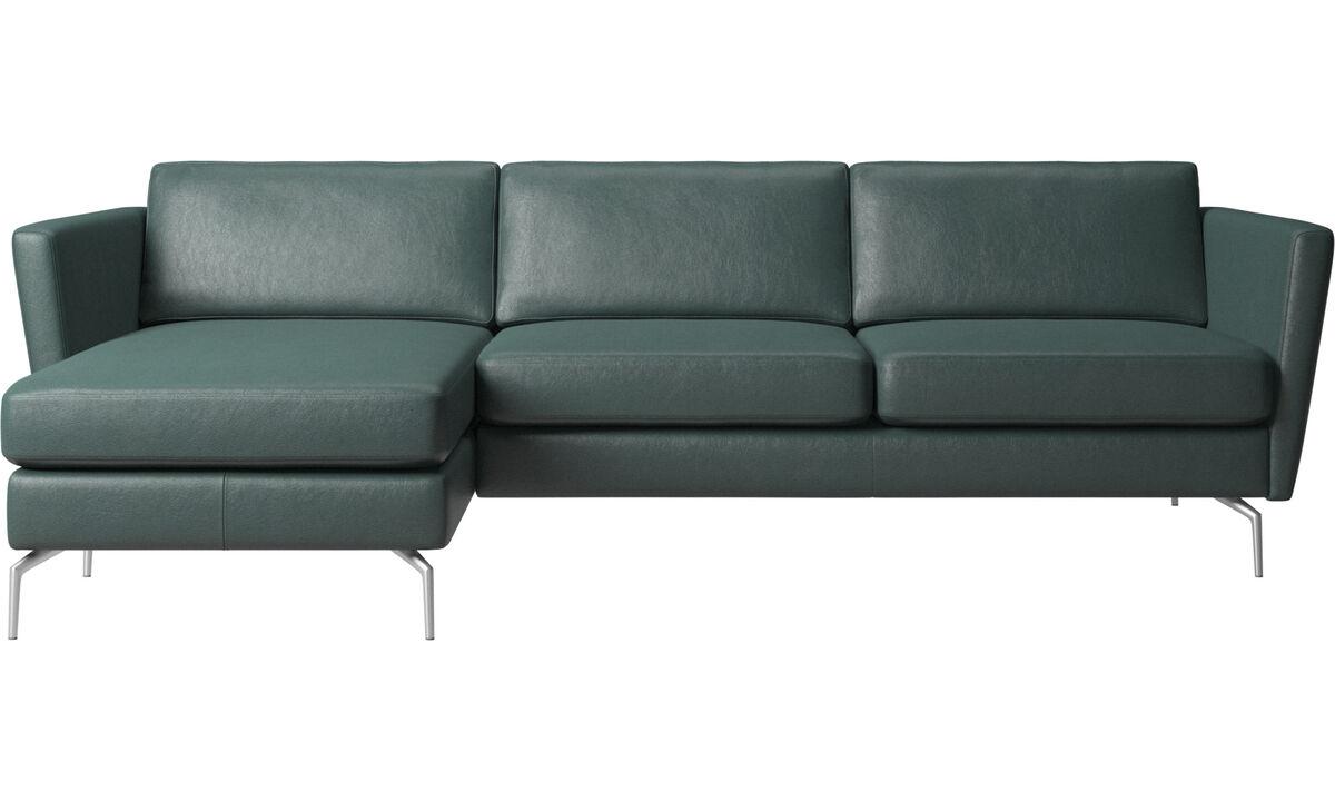 Sofas mit Récamiere - Osaka Sofa mit Ruhemodul, klassische Sitzfläche - Grün - Stoff