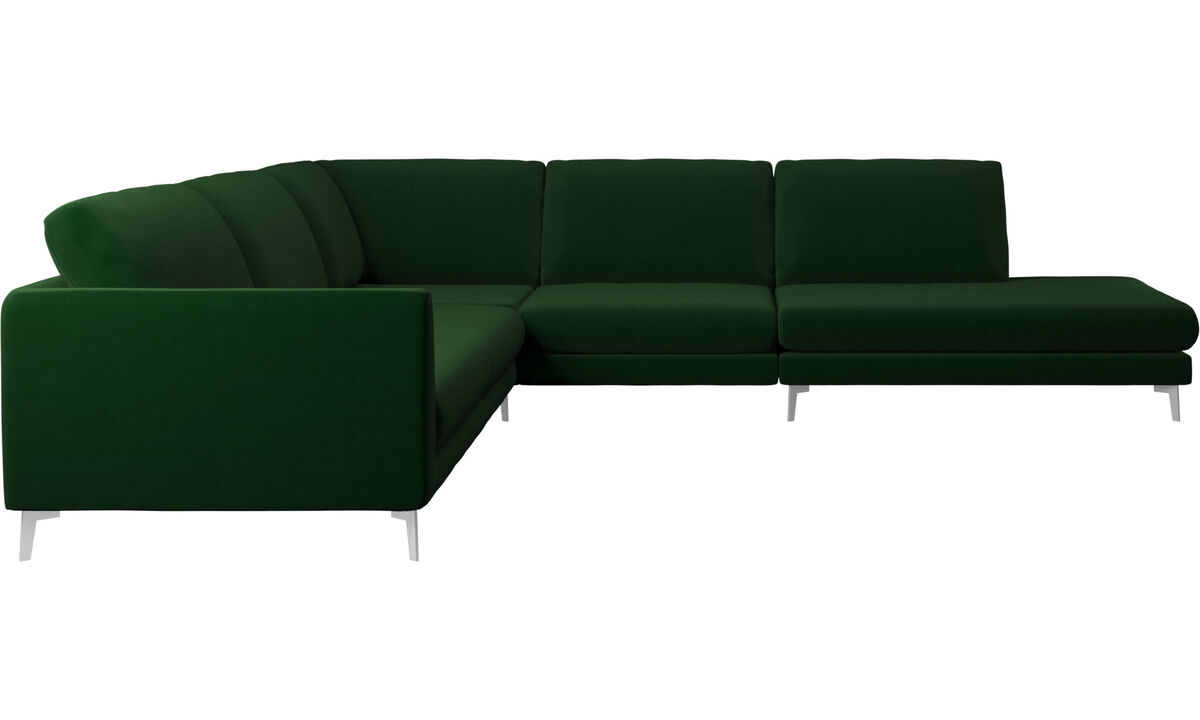 Sofas with open end - Fargo corner sofa with lounging unit - Green - Fabric