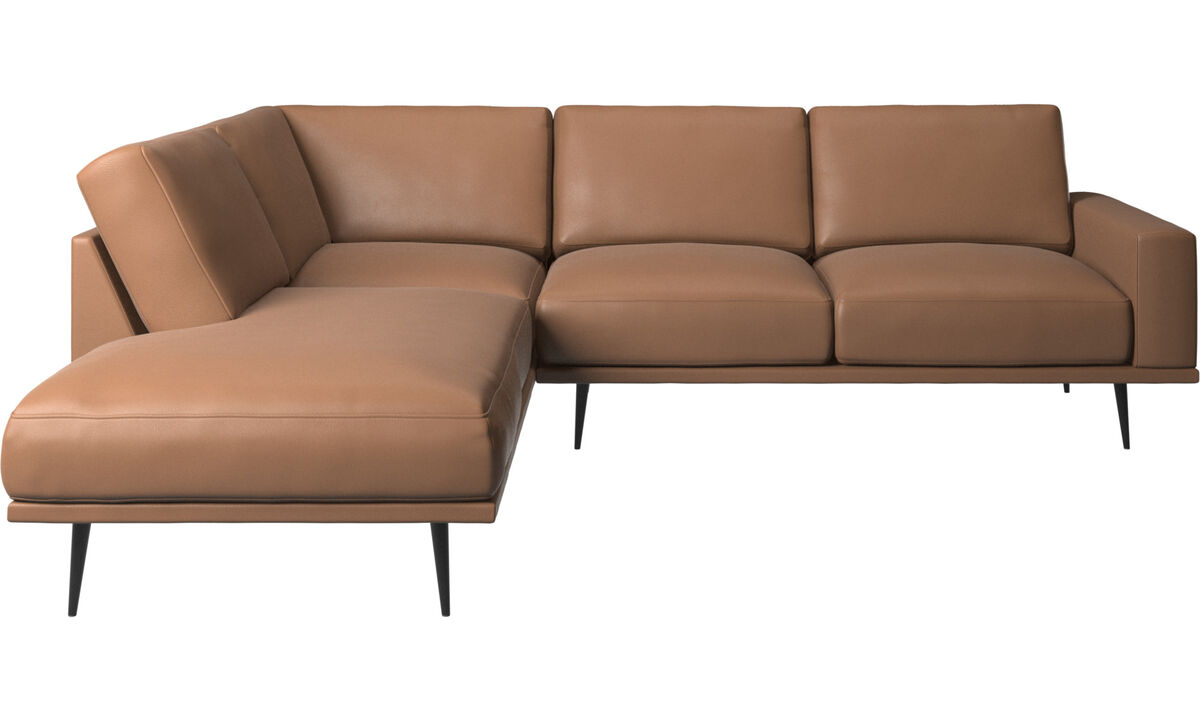 Sofás con lado abierto - sofá Carlton con módulos de descanso - En marrón - Piel