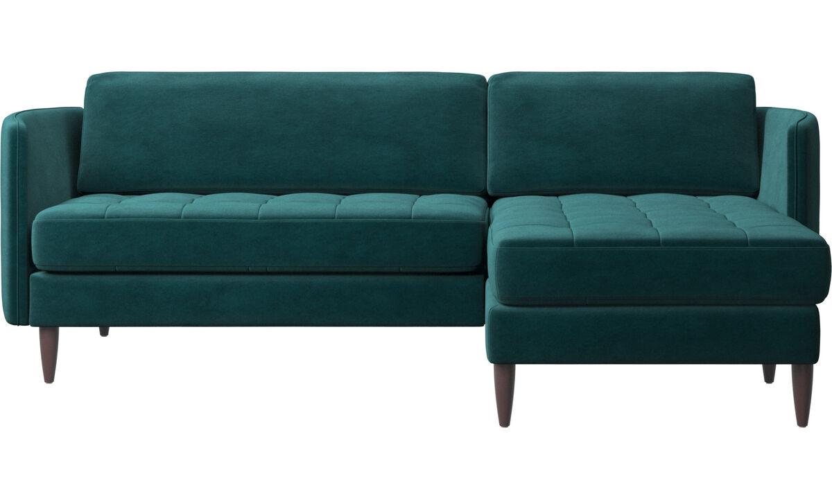 Canapés avec chaise longue - canapé Osaka avec chaise longue, assise capitonnée - Bleu - Tissu