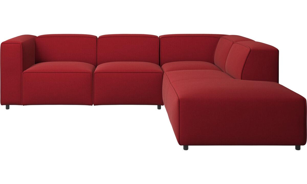 Sofás reclinables - Sofá esquinero Carmo con movimiento - Rojo - Tela