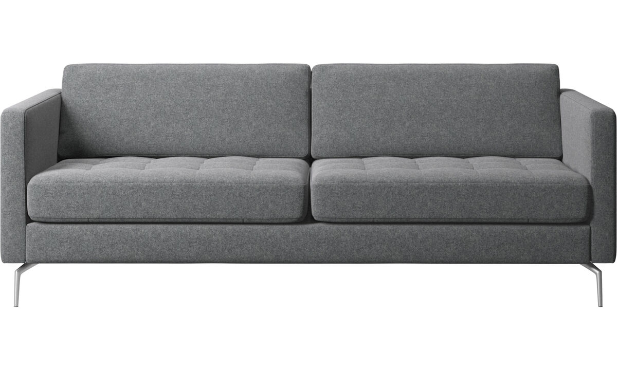 Sofy 2½-osobowe - sofa Osaka, pikowane siedzisko - Szary - Tkanina