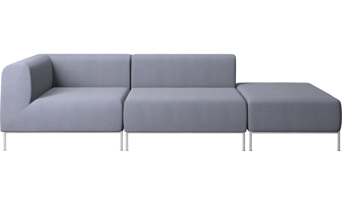 Sofas with open end - Miami sofa with footstool on right side - Blue - Fabric