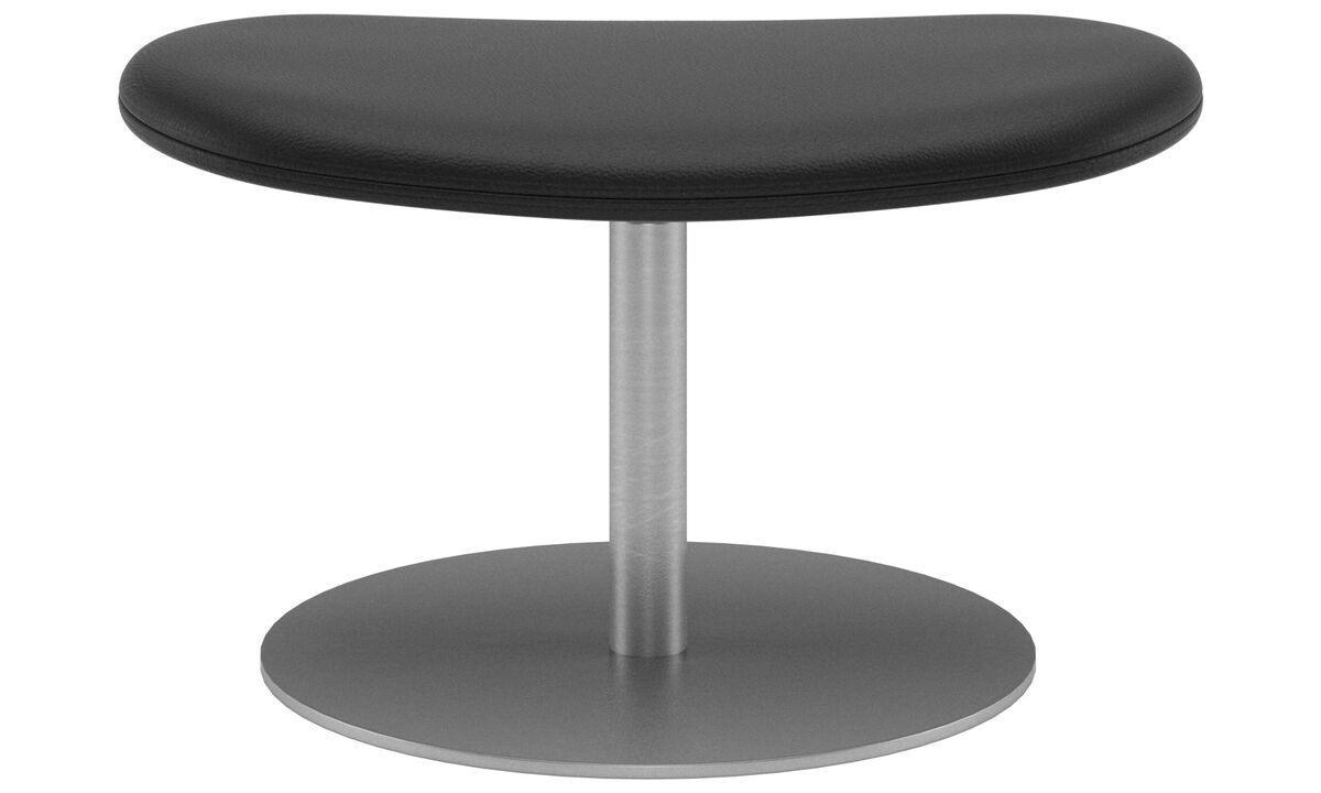 Footstools - Ogi footstool - Black - Leather