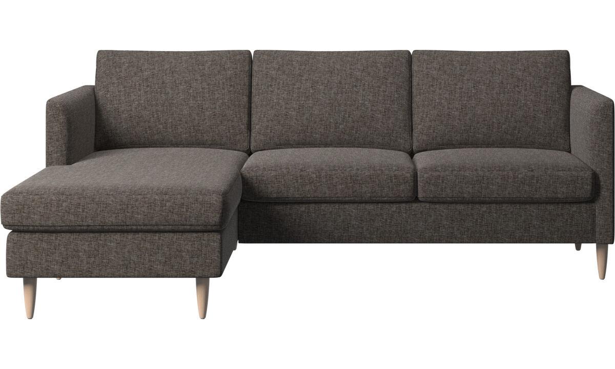 Sofás con chaise longue - Sofá Indivi con módulo chaise-longue - En marrón - Tela