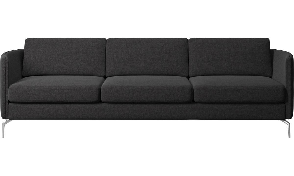 Háromszemélyes kanapék - Osaka kanapé, sima felületű ülőpárna - Fekete - Huzat