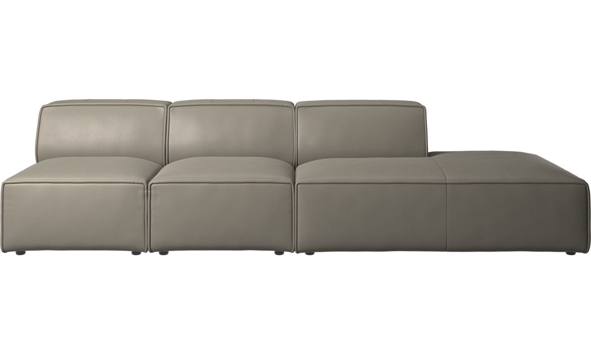 Sofas with open end - Carmo sofa with lounging unit - Grey - Leather