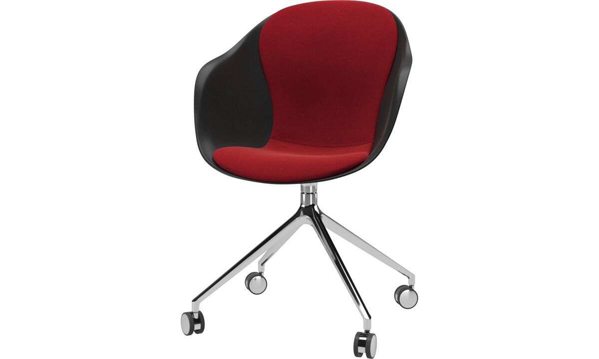 Home office chairs - Adelaide chair with swivel function and wheels - Red - Fabric