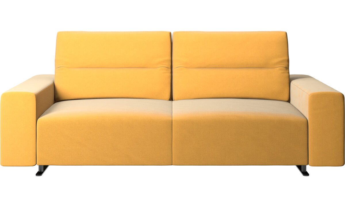 2.5 seater sofas - Hampton sofa with adjustable back and storage on the right side - Yellow - Fabric