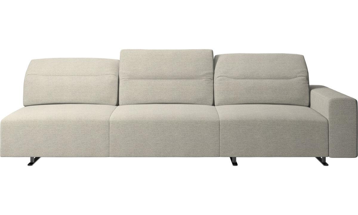 Трехместные диваны - Угловой диван Hampton  с регулируемой спинкой и системой хранения с правой стороны - Бежевого цвета - Tкань