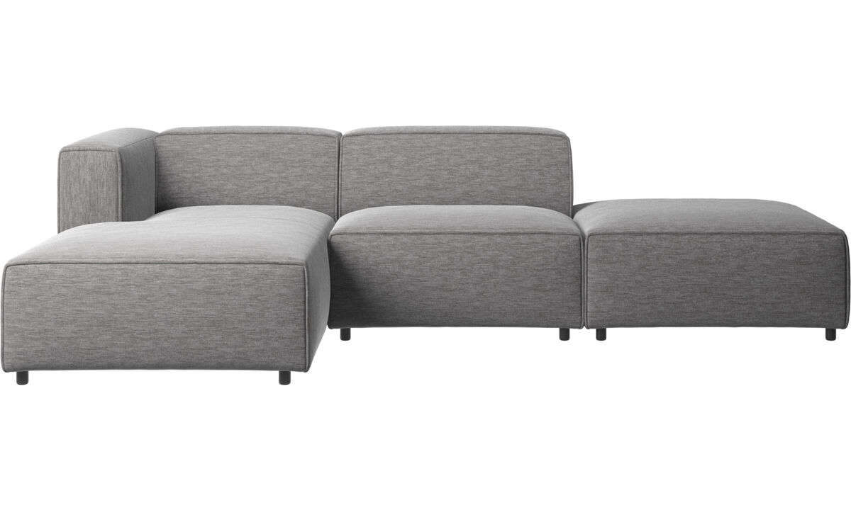 Chaise lounge sofas - Carmo sofa with lounging and resting unit - Grey - Fabric