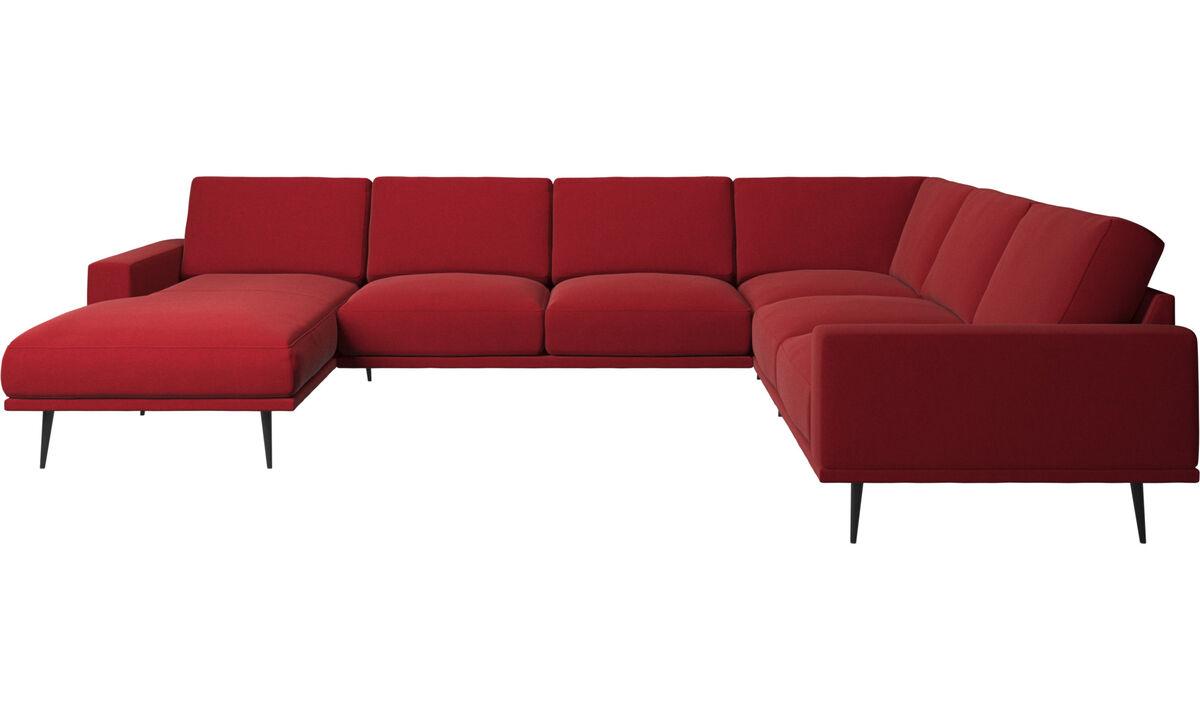 Sofás de canto - Sofá de canto Carlton chaise-longue - Vermelho - Tecido