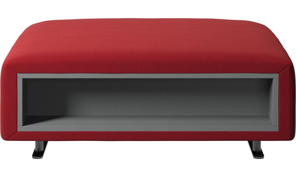 Apoio de pés - Puff Hampton com armazenamento nas laterais - Vermelho - Tecido