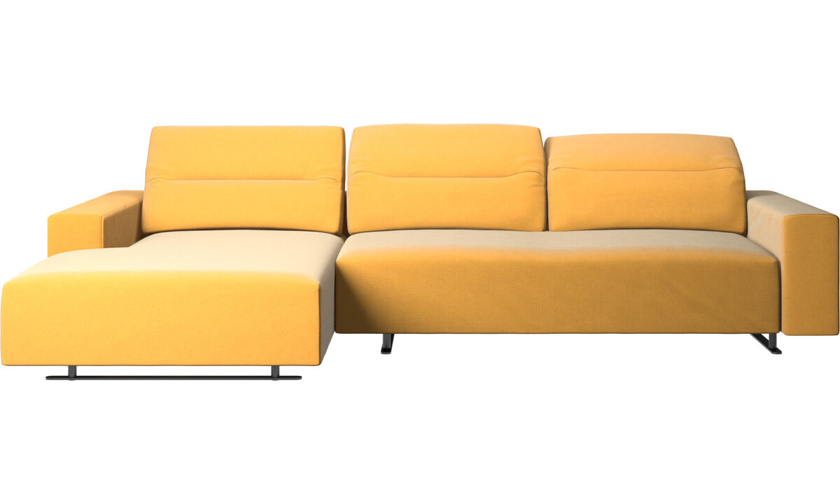 Chaise longue sofas - Hampton sofa with adjustable back, resting unit and storage left side - Yellow - Fabric