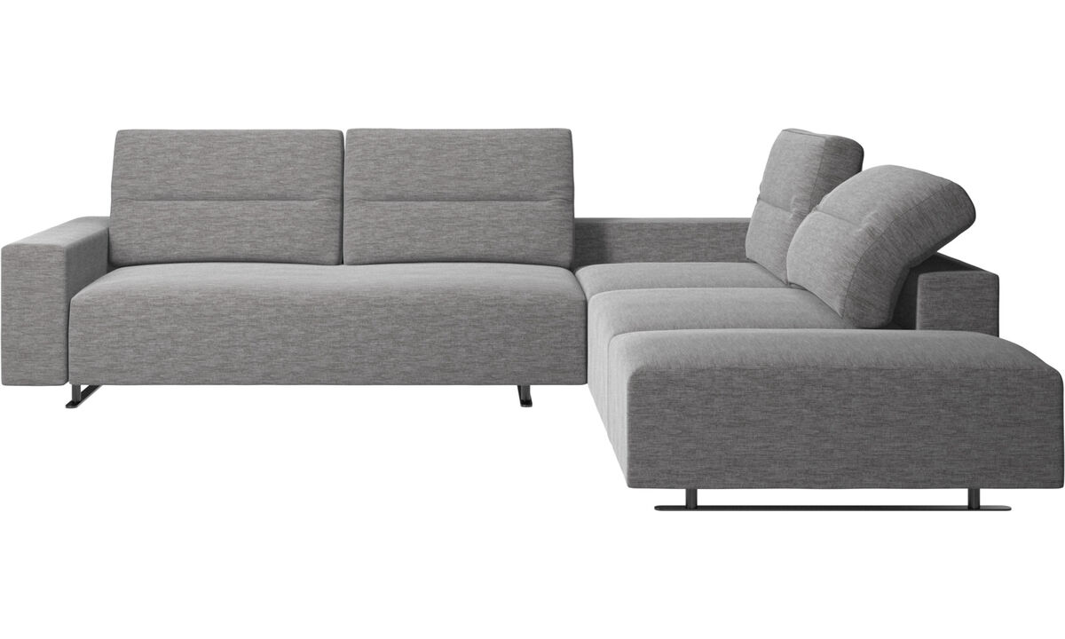 Corner sofas - Hampton corner sofa with adjustable back and storage on left side - Grey - Fabric