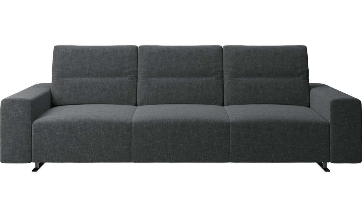 3 seater sofas - Hampton sofa with adjustable back and storage on the right side - Grey - Fabric