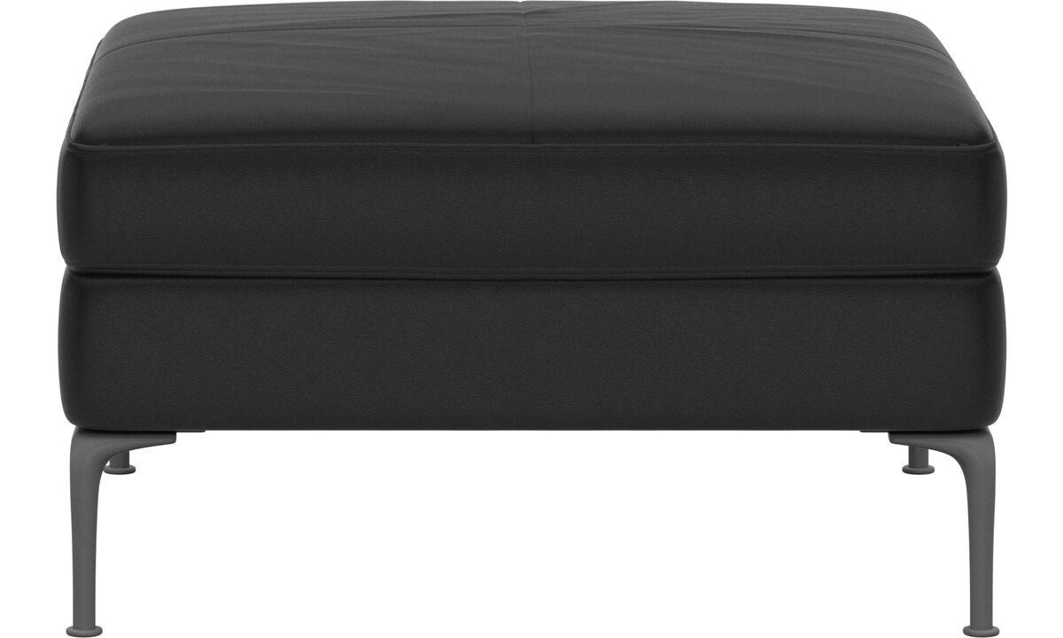 Footstools - puf Marseille - Black - Leather