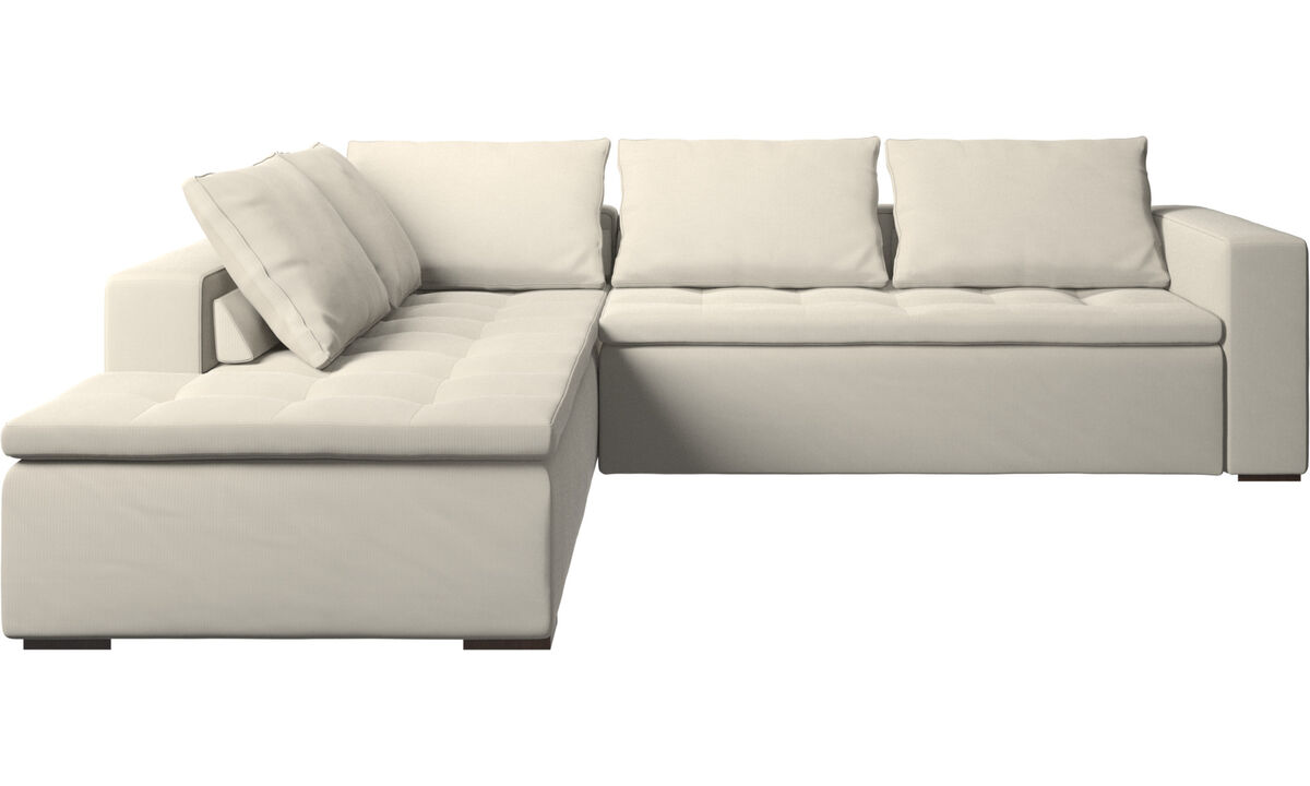 Corner sofas - Mezzo corner sofa with lounging unit - White - Fabric