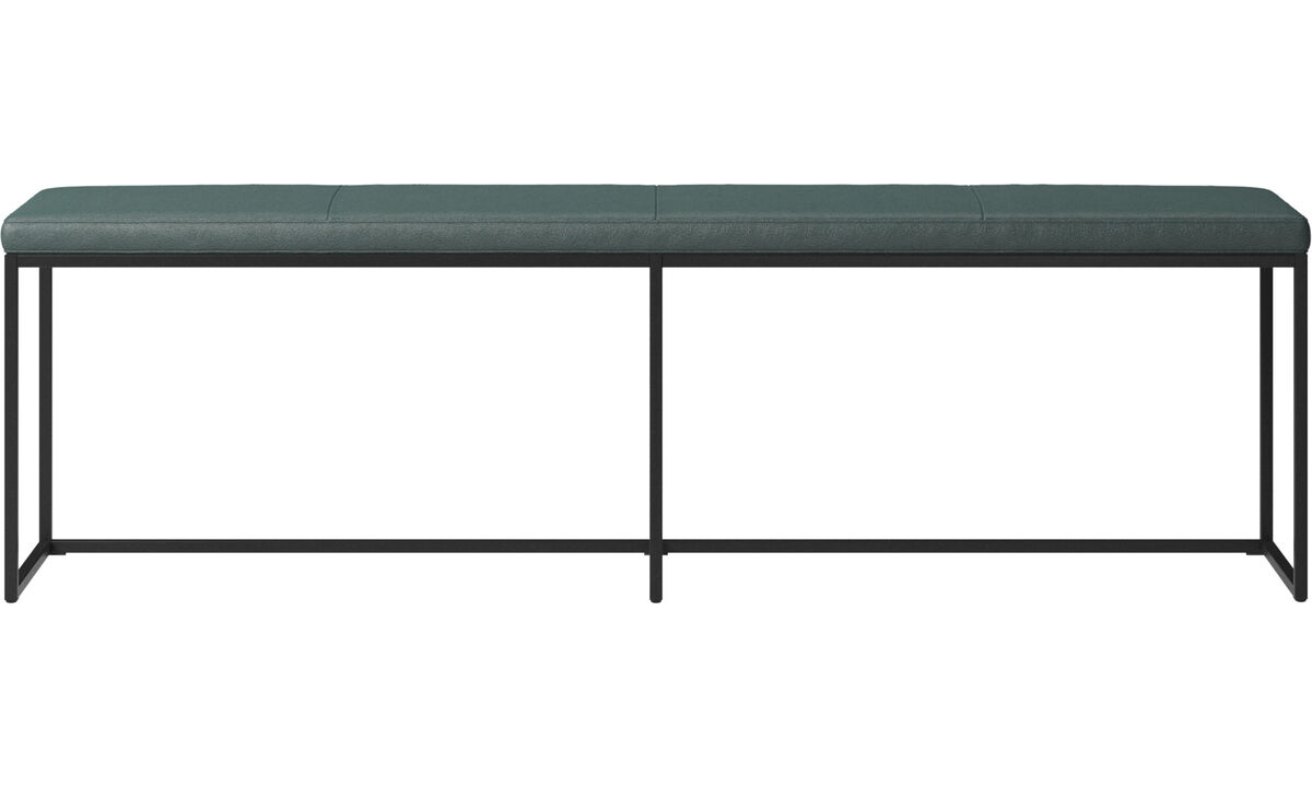 Benches - London large bench with cushion - Green - Fabric