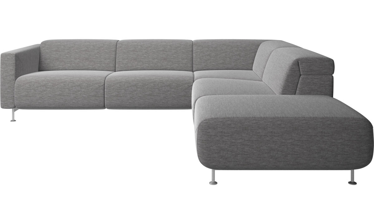 Recliner sofas - Parma reclining corner sofa with open end - Grey - Fabric